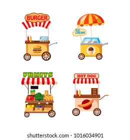 Street cart shop icon set. Cartoon set of street cart shop vector icons for web design isolated on white background