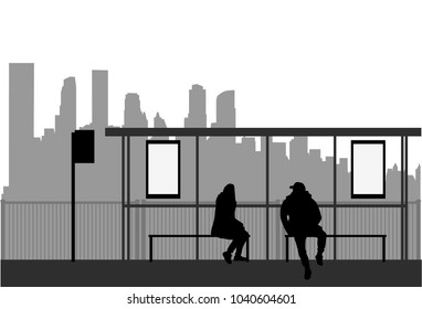 Street of the city . Bus stop.