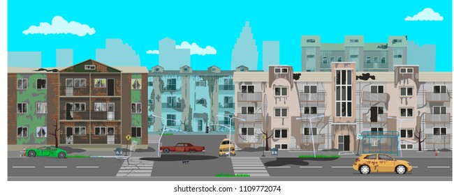 Street of the city, destroyed by natural disaster. vector illustration, flat style design