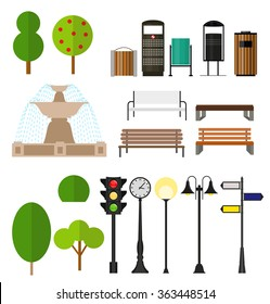 Street City Flat Design Elements. Vector Illustration EPS10