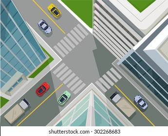 Street in a city, top view. Vector flat illustration