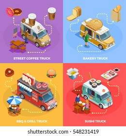 Street coffee snacks bread sushi and bbq food trucks 4 isometric icons square banner isolated vector illustration
