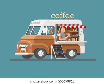 Street coffee van. Fast delivery. 3d design vector illustration