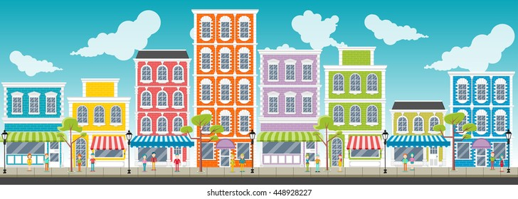 Street of a colorful city with cartoon business people