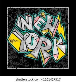 Street colorful graffiti type in rock style New York City. For fashion design print on clothes t shirt bomber sweatshirt also for sticker poster patch. Underground style.