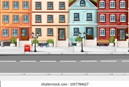 Street with colorful houses fire hydrant lights bench red mailbox and bushes in vases cartoon style vector illustration website page and mobile app design.
