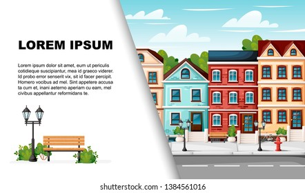 Street with colorful houses fire hydrant lights bench red mailbox and bushes in vases cartoon style. Flat vector illustration with place for text. Advertising flyer or greetings card design.