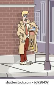 Street corner salesman vector illustration.