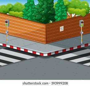 Street corner with two zebra crossings illustration