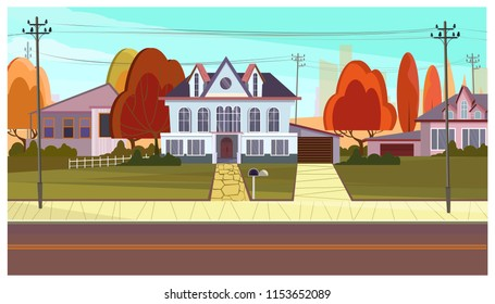 Street with cottage houses and autumn trees. Suburban scene, real estate and architecture concept. Flat style vector illustration. For leaflets, brochures, wallpapers, posters or banners.
