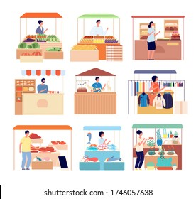 Street counter. Market vendors, sellers natural homemade fresh product. Isolated seafood, vegetables honey shopping stand, stalls vector set