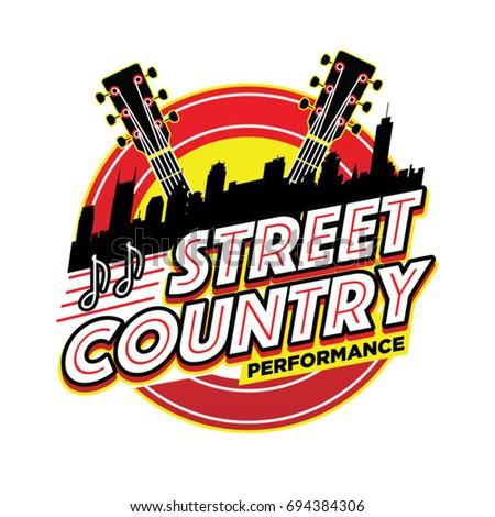Street Country Music Performance Logo Symbol Stock Vector Royalty