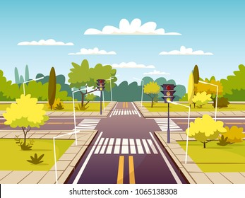 Street crossroad vector illustration of traffic lane and pedestrian crossing or crosswalk with marking. Cartoon flat design of urban road with traffic light for carsharing or car navigation technology