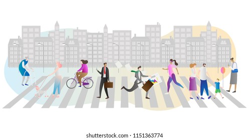 Street crowd vector illustration. Businessman, family, woman with dog and elder people walking or hurry running in urban city and metropolis with houses and lanterns. Busy people in modern day society