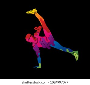 Street dance, B boys dance, Hip Hop Dancing action designed using colorful graffiti graphic vector