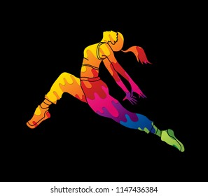 Street dance, B boys dance, Hip Hop Dancing action graphic vector
