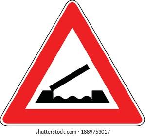 Street DANGER Sign. Road Information Symbol. Movable bridge