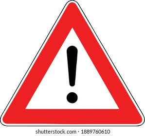 Street DANGER Sign. Road Information Symbol. Other hazards