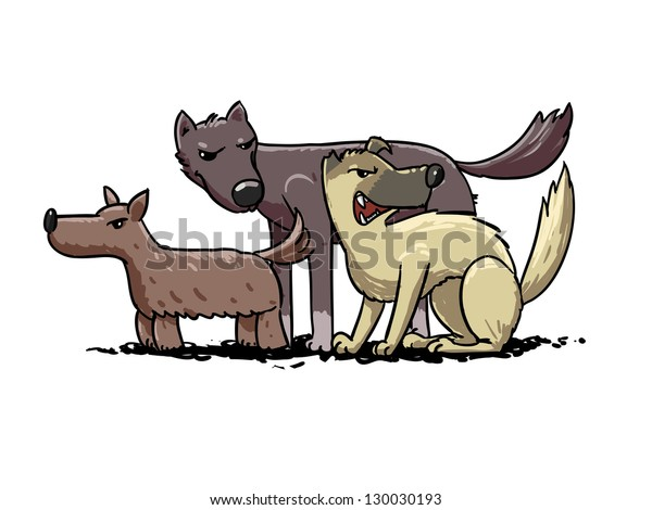 street dogs pack. vector illustration
