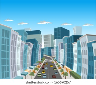 Street of downtown city with buildings and cars