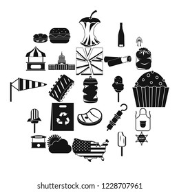 Street eatery icons set. Simple set of 25 street eatery vector icons for web isolated on white background