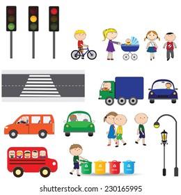 Street elements - road, zebra, traffic lights, buildings, cars