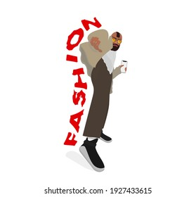 Street fashion, dancer. Hoodie and jacket, pants and sneakers. A stylishly dressed young man with an unusual hairstyle, holding smartphone. Fashion Illustration vector.