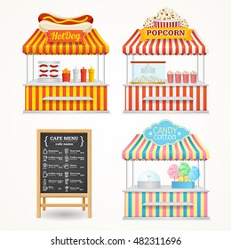 Street Fast Food Market Set and Menu Blackboard. Popcorn shop, Hotdog stall, Candy cotton markets. Vector illustration