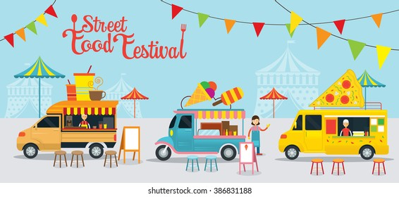 Street  and Fast Food, Truck, Festival, Drink, Ice Cream, Pizza