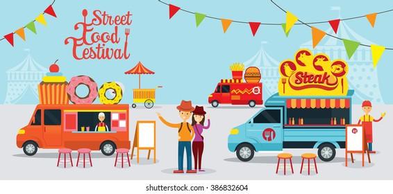 Street  and Fast Food, Truck, Festival, Drink, Dessert, Steak, Burger