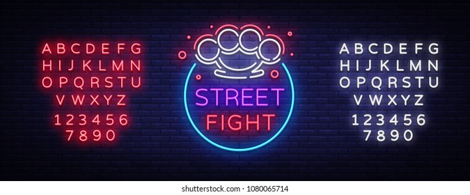 Street fight logo in neon style. Fight Club neon sign. Logo with brass knuckles. Sports neon sign on night fighting, MMA. Light banner, night bright advertising. Vector. Editing text neon sign