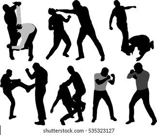Street fight people silhouettes - vector