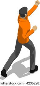 Street fighter hitting with a fist to head. Young thin man in orange shirt. 3d flat isometric.