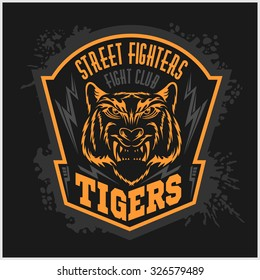 Street fighters - Fighting club emblem on dark background, label, badge, logo.