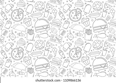 Street food background from line icon. Linear vector pattern