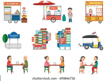 Street Food in Bangkok elements in flat cartoon design , all isolated on white background, illustration, vector