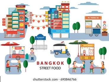 Street Food in Bangkok , Thailand, with cartoon flat design style , illustration, vector