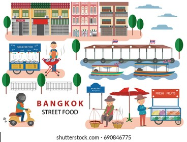 Street Food in Bangkok , Thailand with cartoon flat design style on white background, illustration, vector