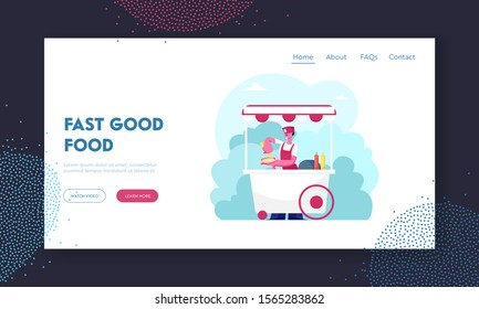 Street Food and Beverages Website Landing Page. Saleswoman in Wheeled Booth with Hotdogs in City Park at Summer. Seller Sell Fastfood to Walking People Web Page Banner. Flat Vector Illustration