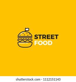 Street food burger with road logo.Logo for restaurant or cafe. Vector illustration