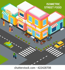 Street food cafe with wooden tables on sidewalk pavement menu and customers isometric poster abstract vector illustration
