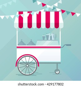 Street food cart, bike cafe concept vector illustration, flat design style