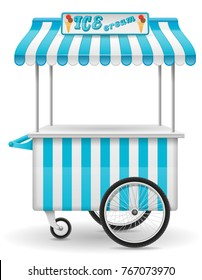 street food cart ice cream vector illustration isolated on white background