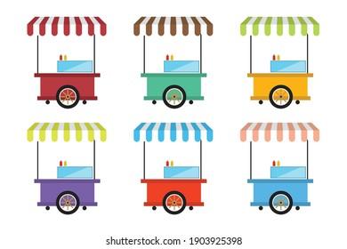 Street food cart vector illustration set. Food cart illustration for web, mobile apps, design. Food cart vector symbol.