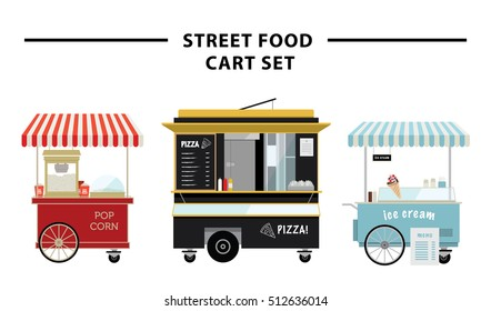 Street food cart vector illustration set