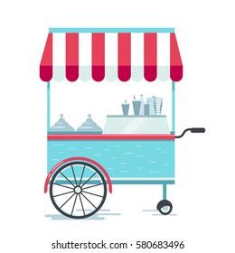 Street food cart, vector illustration, flat design