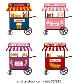 Street food cart vector illustration set Candy corn container seller cart. Popcorn cart snack food market flat vector illustration.