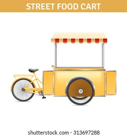 Street food cart with wheels doors and tent realistic vector illustration