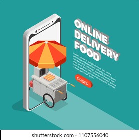 Street food delivery concept with online fast food order symbols isometric vector illustration