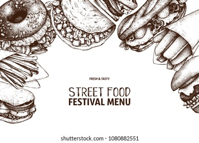 Street food and drinks festival menu with vintage illustrations. Fast food engraved style design with vector drawing for logo, icon, label, packaging, poster.